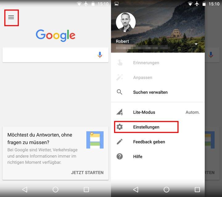 Öffnet zunächst die Einstellungen in der Google-App.