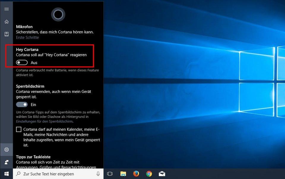 """Hier aktiviert ihr die Funktion """"Hey Cortana""""."""