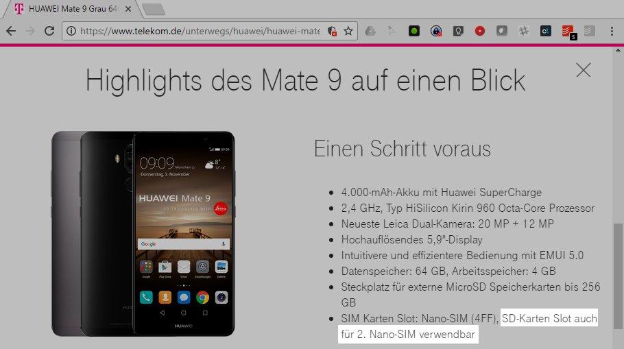 Die Deutsche Telekom bietet das Huawei Mate 9 im Rahmen ihrer Verträge als Dual-SIM-Version an (Screenshot: telekom.de)