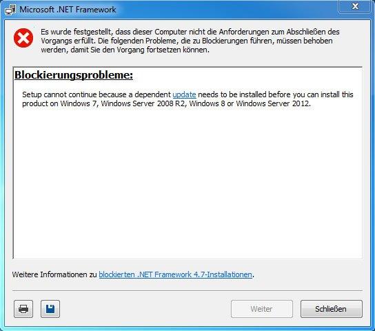 NET Framework wurde blockiert, weil ein wichtiges Update fehlt.