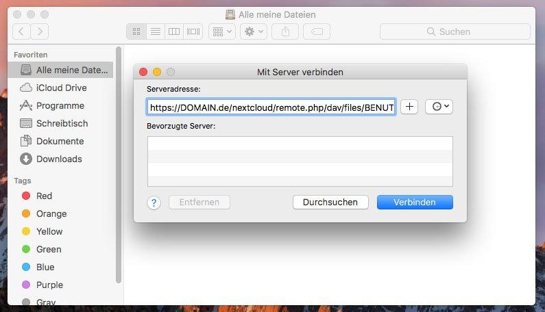 MacOS: Hier gebt ihr die WebDAV-Adresse zum Nextcloud-Server ein.
