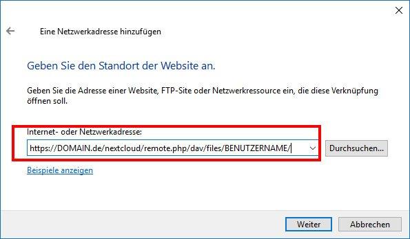 Gebt eure eigene DynDNS-Adresse zu eurem Nextcloud-Server ein.