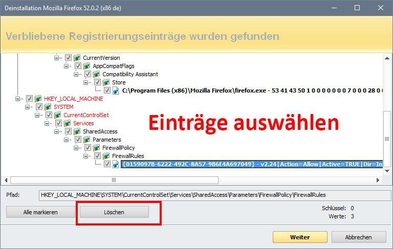 Revo Uninstaller: Wählt die Programmreste aus und klickt auf den Löschen-Button.