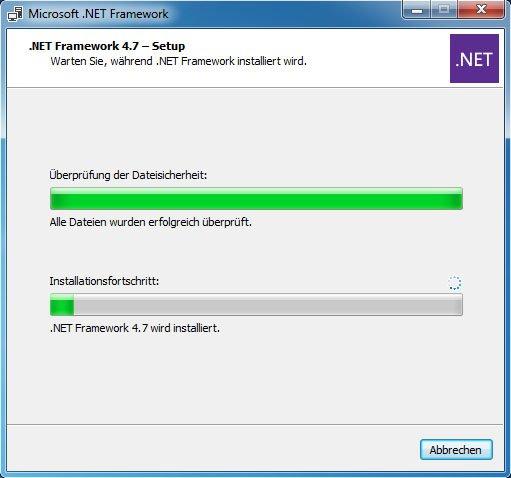 NET Framework 4.7 wird installiert.