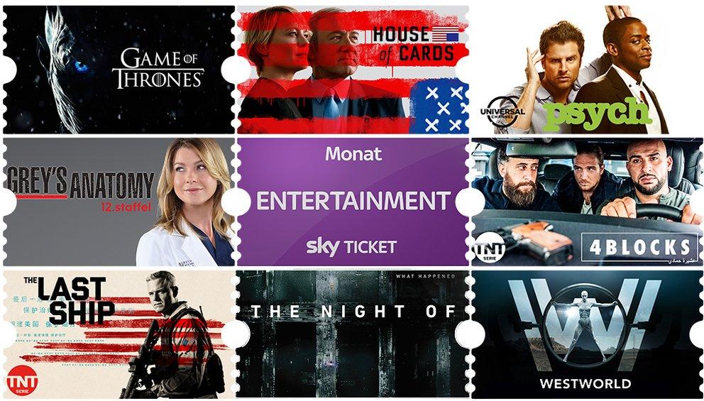 Sky Entertainment Ticket für 1 € im 1. Monat – monatlich kündbar