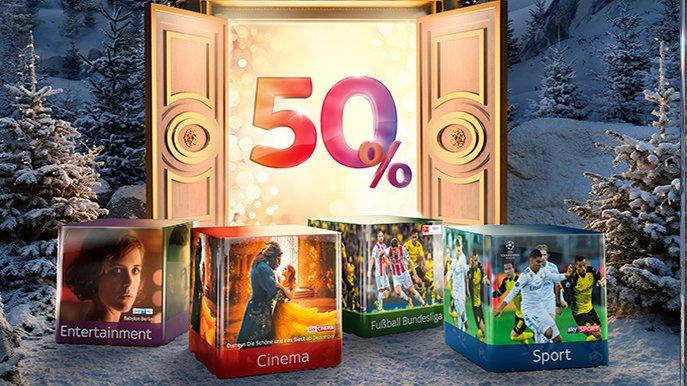 Sky Weihnachtsspecial: 50 % Rabatt auf alle Pakete