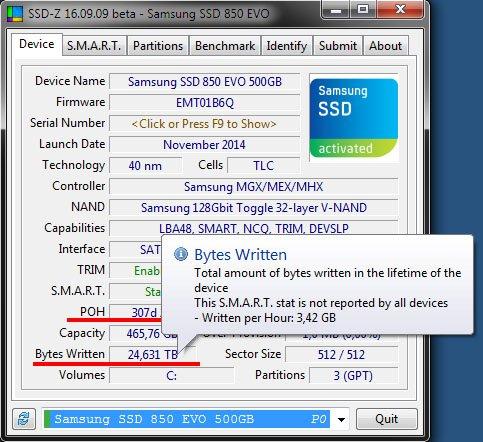 SSD-Z: 3,42 GB Schreibzyklen pro Stunde ist eine ganze Menge.