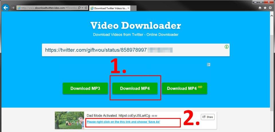 """Hier fügt ihr den Link ein und klickt auf """"Download MP4""""."""