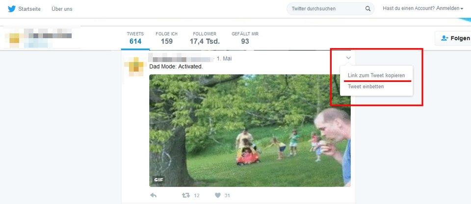 Erstmal benötigt ihr den Link zum Twitter-Beitrag, wo das GIF drin vorkommt.