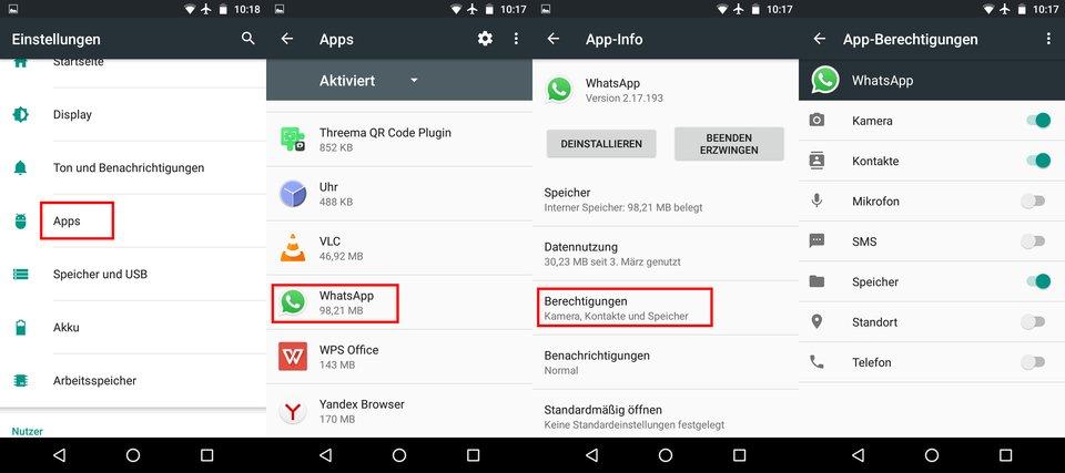 Android: So navigiert ihr zu den WhatsApp-Berechtigungen.