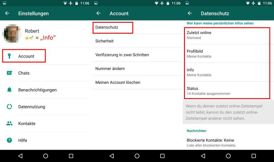 So öffnet ihr die Datenschutz-Einstellungen in WhatsApp.