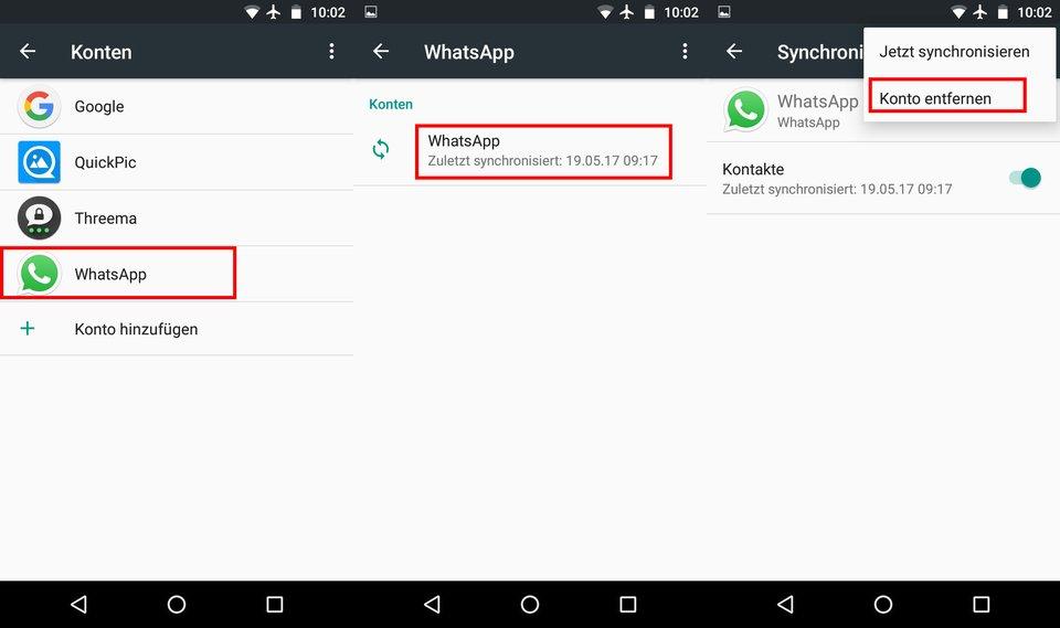 Entfernt hier zunächst das WhatsApp-Konto.