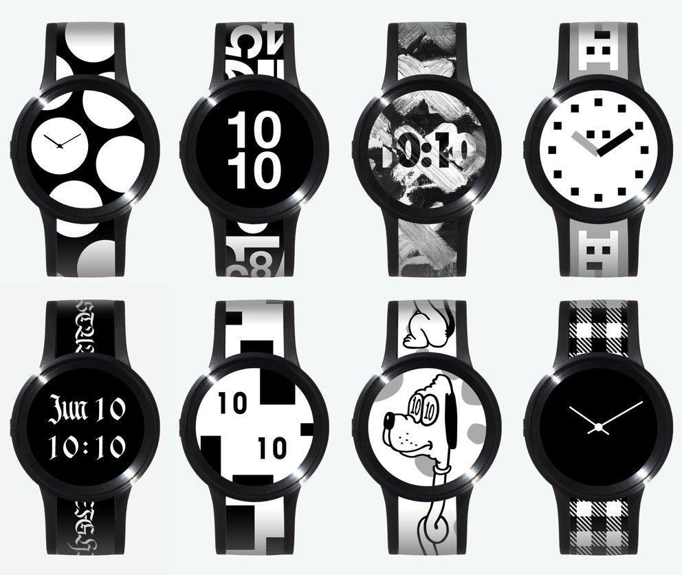 Zahlreiche Designs, aber nur eine Uhr. Der Akku fürs E-Paper hält rund zwei Wochen, bevor er neue Power braucht (Quelle: FES / Sony)