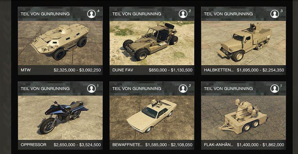 GTA Online Gunrunning Autos