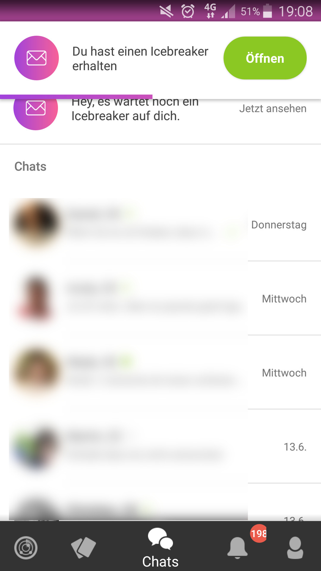 Chat-bildschirm dating-app