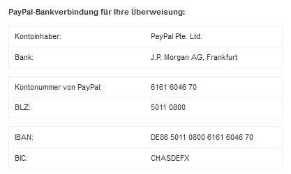 Paypal Kontoverbindung