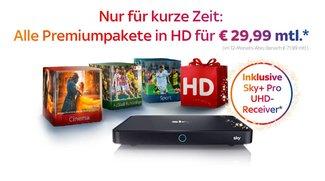 Mega Sky-Angebot: Alle Pakete in HD inkl. gratis Pro-Receiver für 29,99 € im Monat (statt 71,99 €)