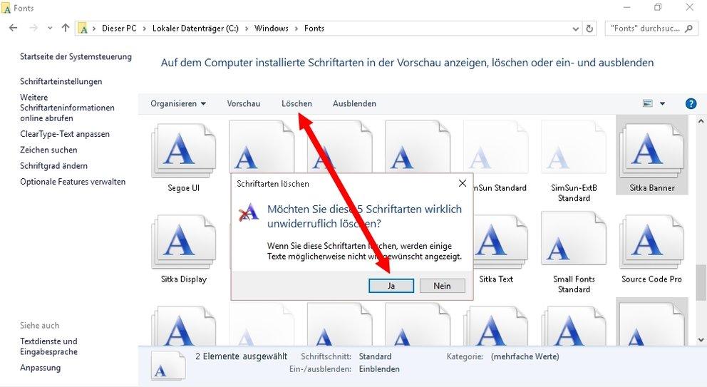 Windows Schriftarten installieren deinstallieren 05