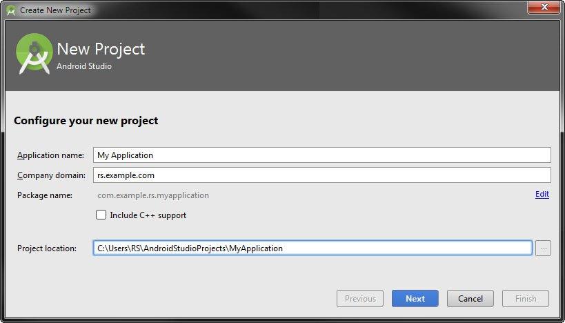 Neues Projekt: Ihr könnt die Voreinstellungen nutzen.