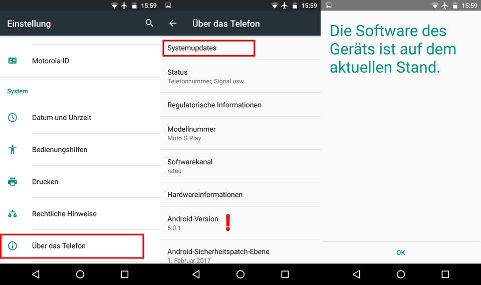 So findet ihr die aktuell installierte Android-Version.