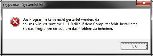 Fehlermeldung in Windows: Die Datei api-ms-win-crt-runtime-l1-1-0.dll fehlt.