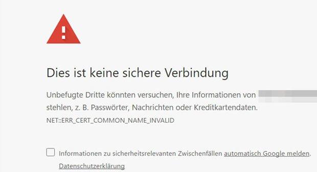 Chrome Dies Ist Keine Sichere Verbindung