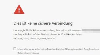 """Lösung: """"Dies ist keine sichere Verbindung"""" (Chrome)"""