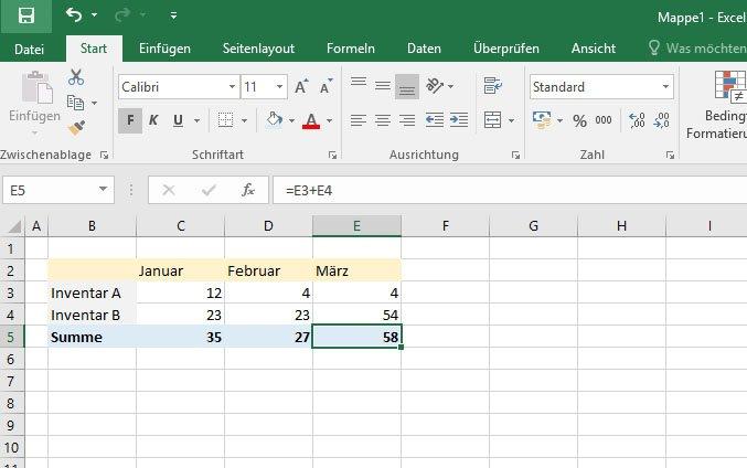 Excel kann mathematische Berechnungen mit Zellen durchführen und in anderen Zellen speichern.