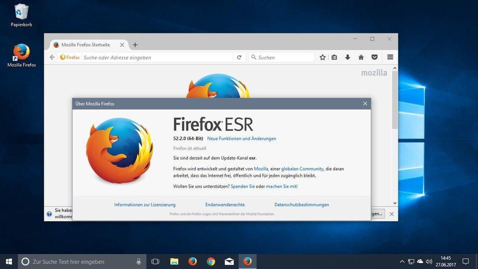 Hier ist die ESR-Version von Firefox installiert.