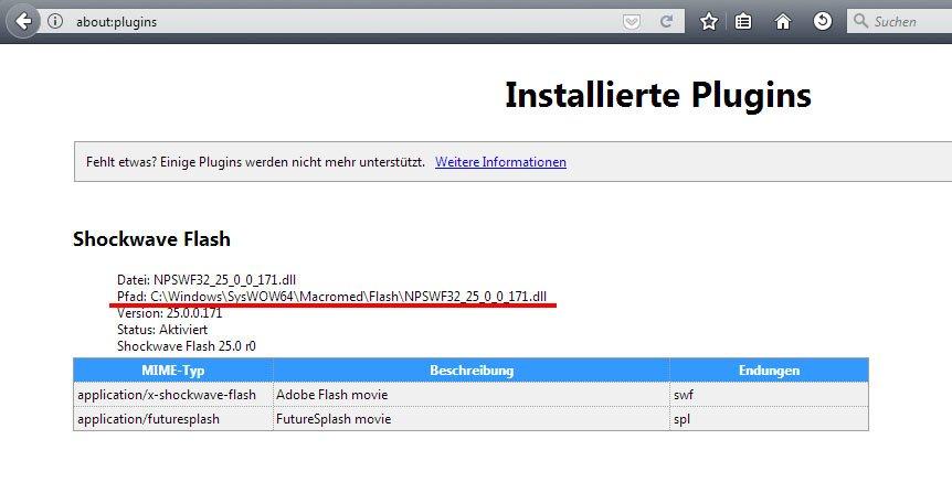 Firefox zeigt eine Liste aller installierten Plugins an.