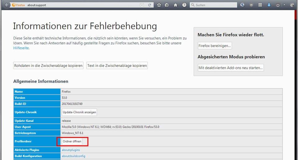 Hier öffnet ihr euren Profilordner von Firefox.