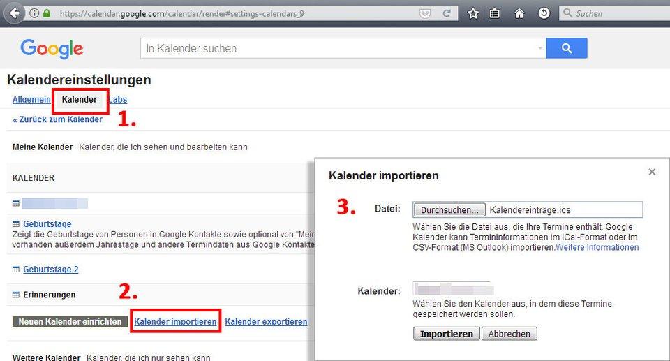 Hier importiert ihr eure ICS-Datei in euren Google-Acount.