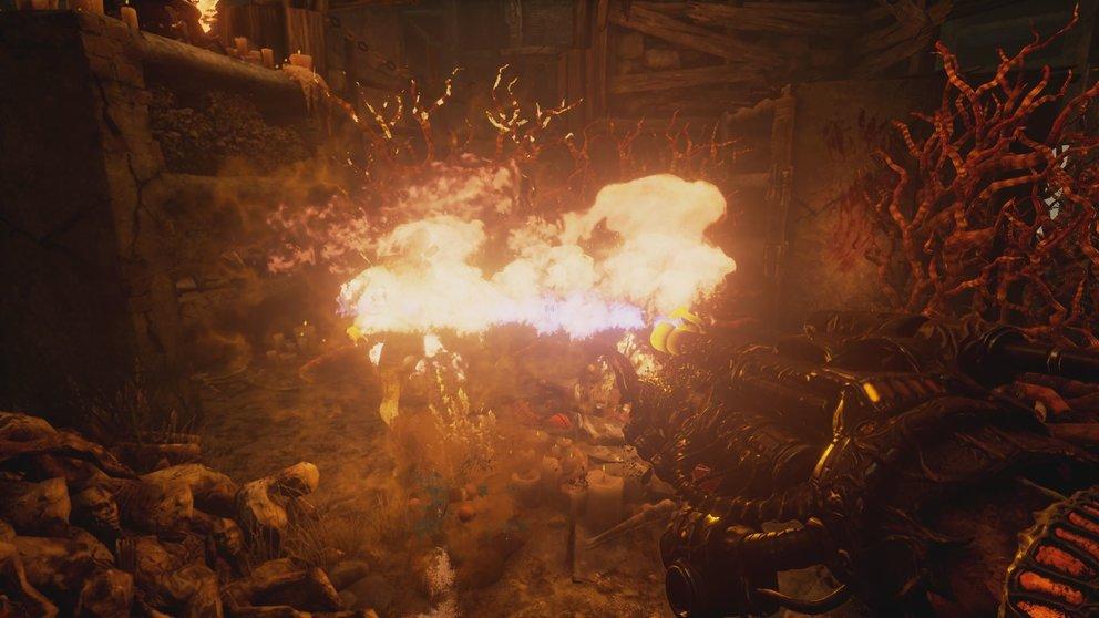 Willkommen in der Hölle: Der Flammenwerfer macht kurzen Prozess mit Feinden.