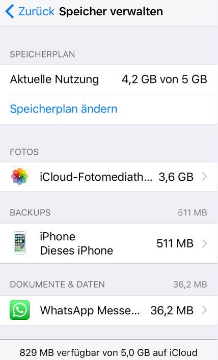 iCloud Backup überprüfen