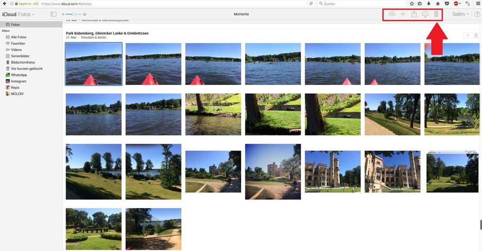 iCloud fotos löschen online