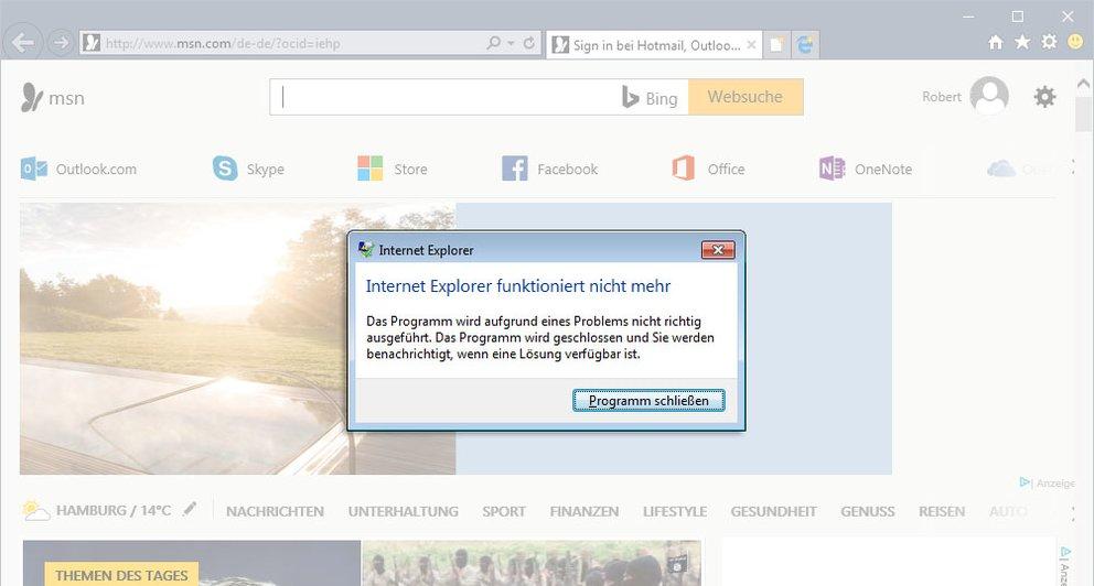 Der Internet Explorer stürzt wiederholt ab. Zeit für eine Reparatur.