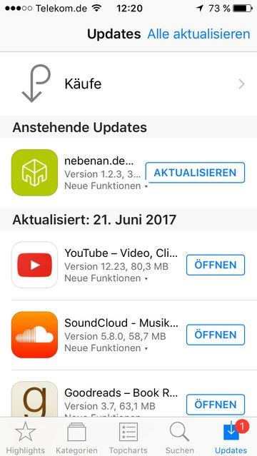 iOS: Hier könnt ihr Apps aktualisieren.