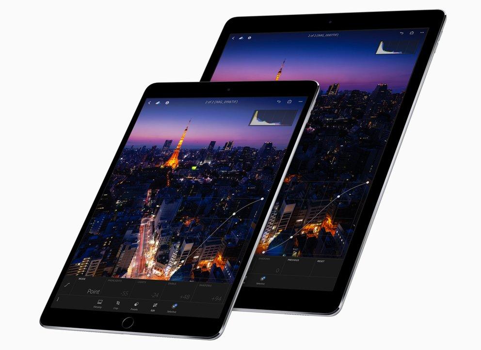 """10,5"""" iPad Pro und das aktualisierte 12,9"""" iPad Pro gleichen sich in der Ausstattung."""