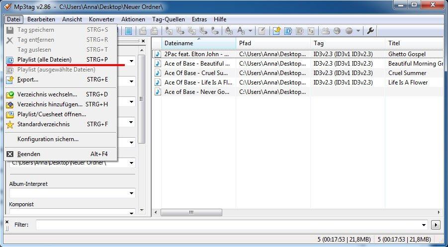 Das Tool mp3tag erstellt M3U-Playlisten mit relativen Pfadangaben
