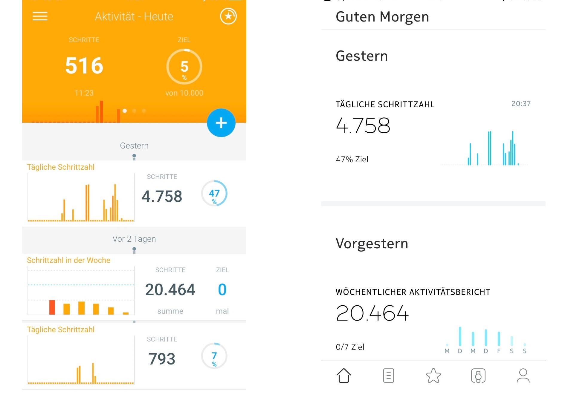 Nokia Health Mate App Die alte App links neben der neuen Healt Mate App Quelle Screenshot