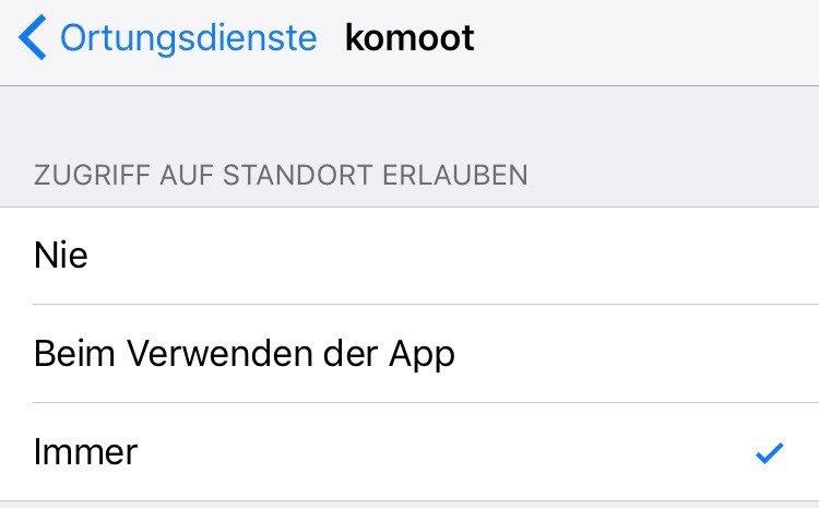 Apps, die einen Ortungszugriff benötigen, müssen in iOS 11 alle drei Optionen anbieten.