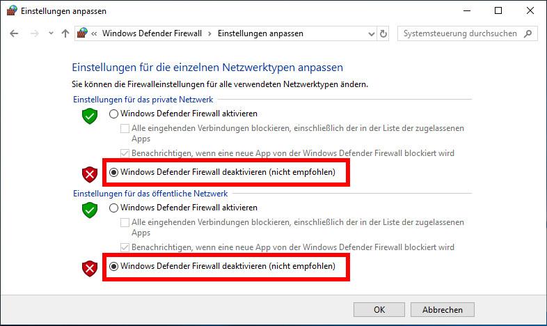 Windows 10 Firewall Deaktivieren