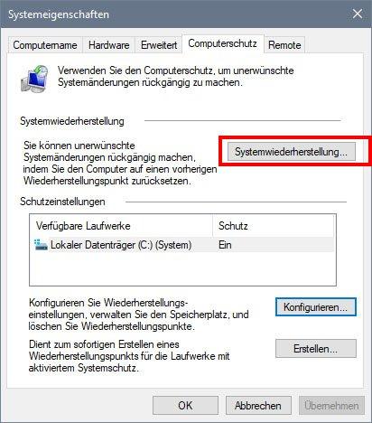 Hier öffnet ihr die Systemwiederherstellung in Windows 10
