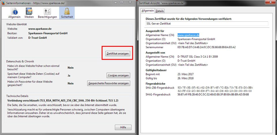 Hier zeigt Firefox Details zum verwendeten Zertifikat der Webseite an.