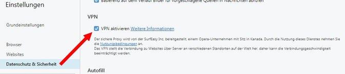 Opera VPN aktivieren Datenschutz Sicherheit