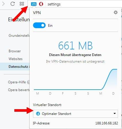 Opera VPN aktivieren Virtueller Standort