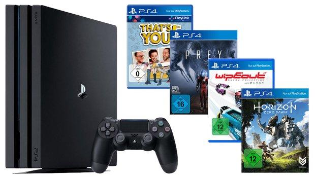 PS4 Pro mit 4 Spielen für 395 €, DualShock 4 Controller für 39 €