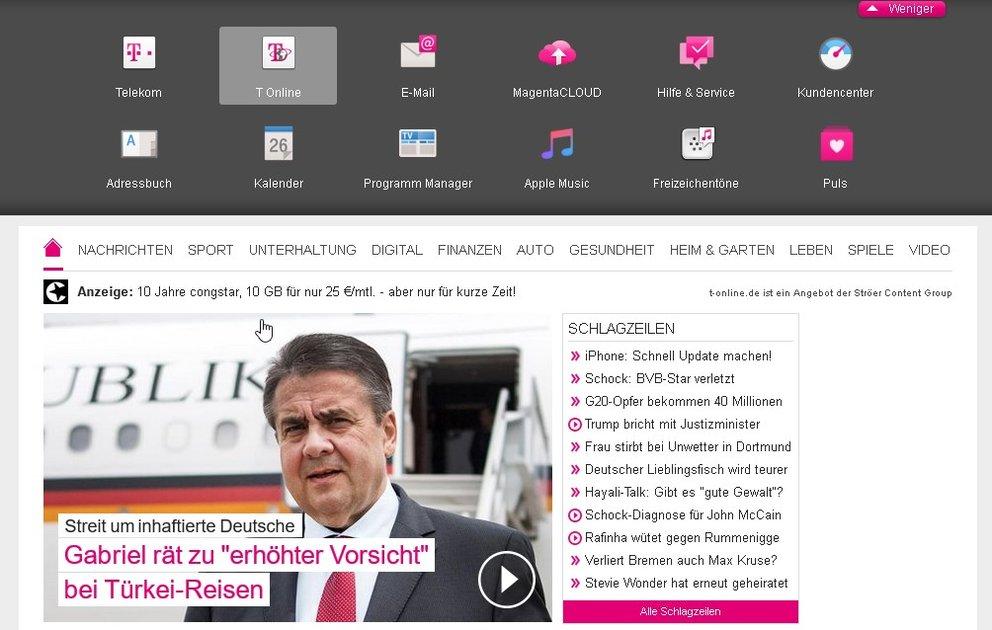 T-Online-Webseite