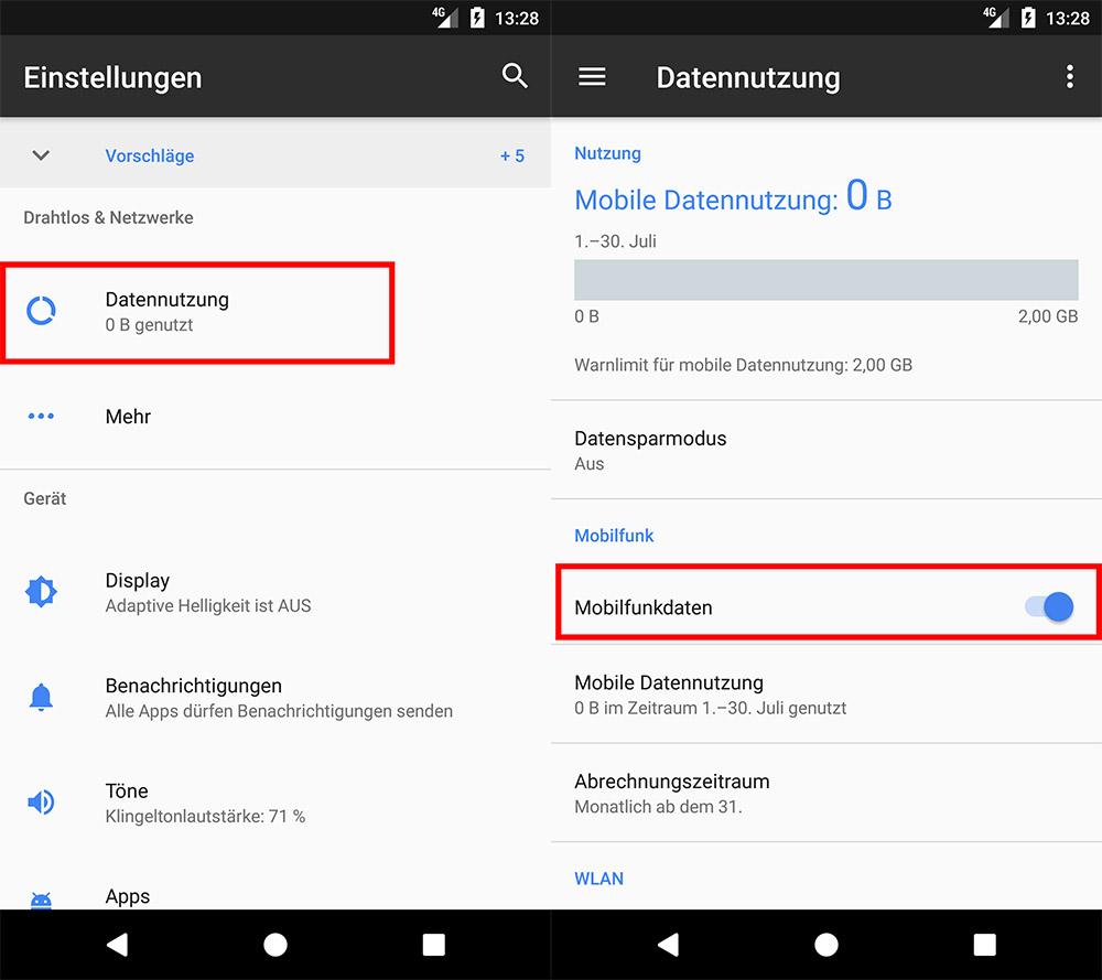 android mobile daten aktivieren