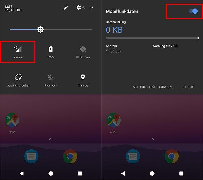 Über die Schnelleinstellungen könnt ihr die mobilen Daten auch ein- oder ausschalten.